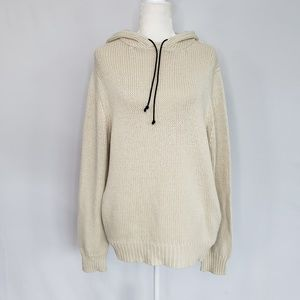 Theory Off-White Wool Blend Hoodie Sweater Large